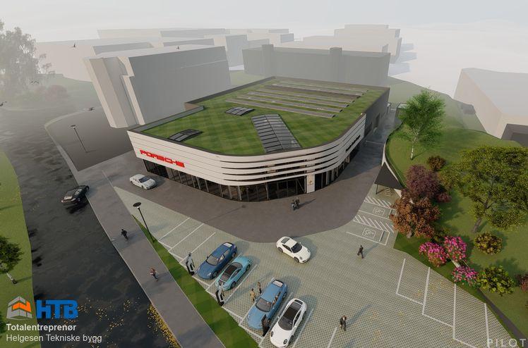 HTB (Helgesen Tekniske Bygg) skal bygge nytt og miljøvennlig Porsche Center Bergen. Målet er å bygge Norges flotteste bilforretning. Ill. Pilot Arkitekter.