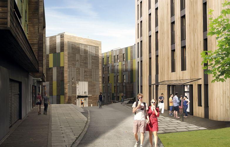 AF skal bygge nye studentboliger i massiv tre på Remmen i Halden. Ill. Stenseth Grimsrud Arkitekter.