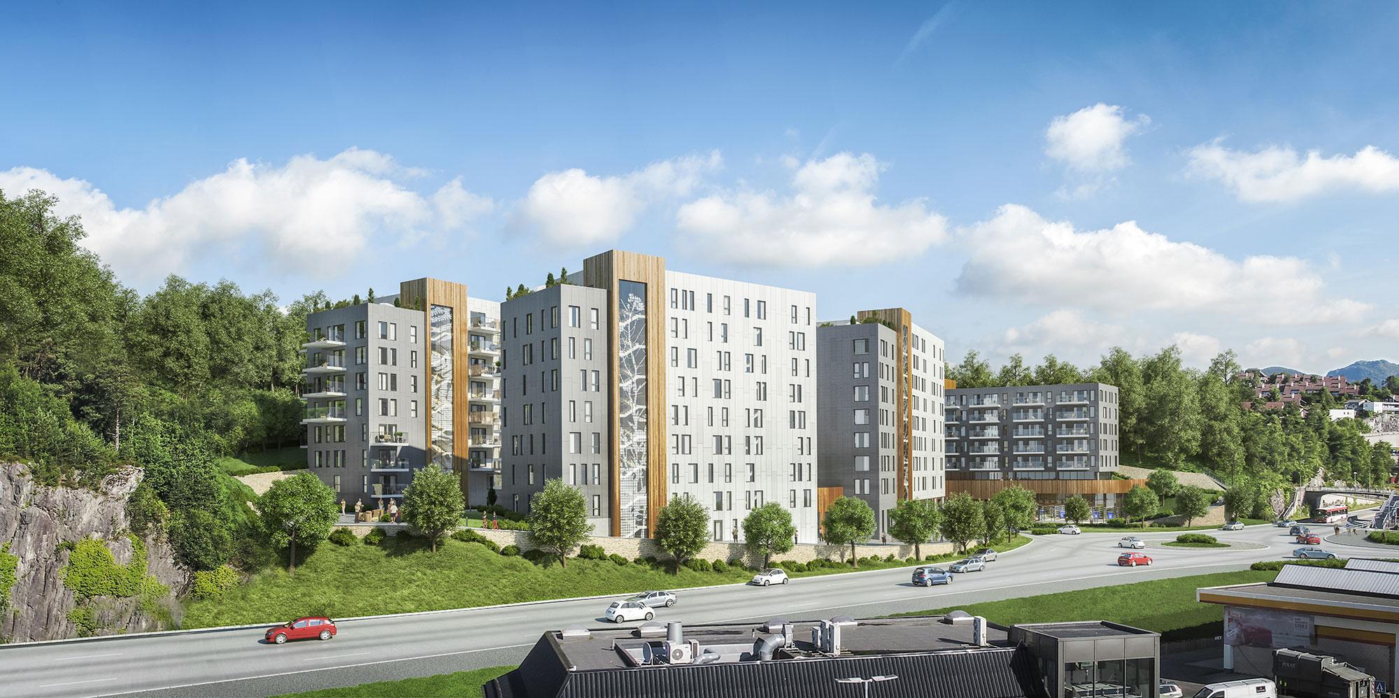 Lagunetoppen, Bergen. Illustrasjon: Grieg Arkitekter / Profier