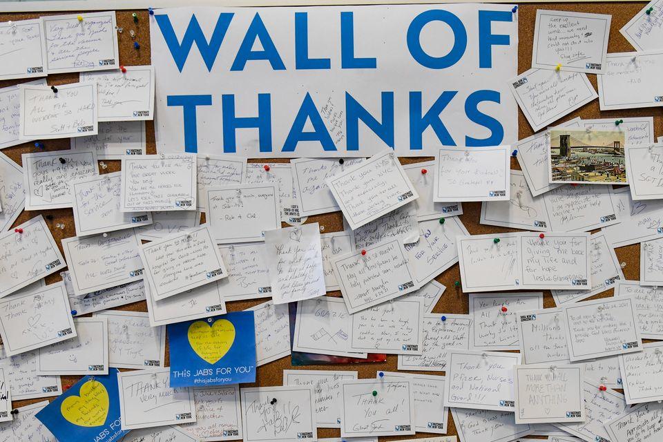 En vegg av takknemlighet i New York