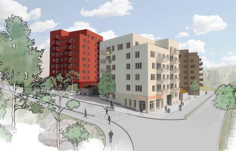 I tråd med Miljöbyggnad sølv bygges de første boligblokkene i Råby i Västerås med solcellepaneler på takene for produksjon av egen elektrisitet. Illustrasjon: Tovatt Architects & Planners / Sweco Architects