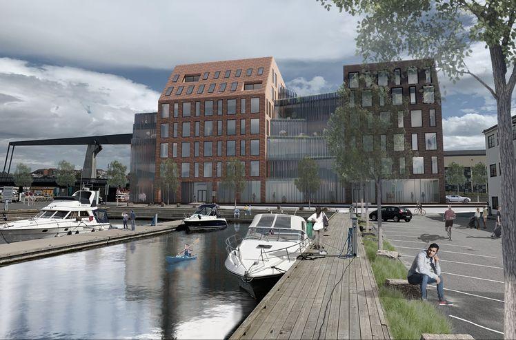 AF Gruppen skal på oppdrag fra Værste AS bygge Dokka 6 på Værstetorvet i Fredrikstad. Ill. Griff arkitektur.