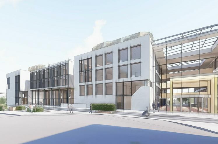 Strøm Gundersen har fått i oppdrag å bygge om Kommunegården i Sandvika for Bærum Kommunale Pensjonskasse. Ill. Insenti.