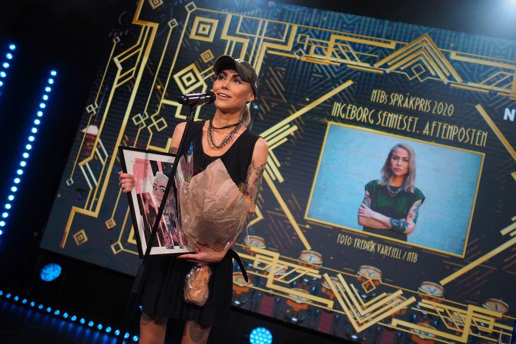 Ingeborg Senneset ble tildelt NTBs språkpris onsdag kveld. Hun hedres av juryen for sitt effektive språk. Foto: Caroline Roka