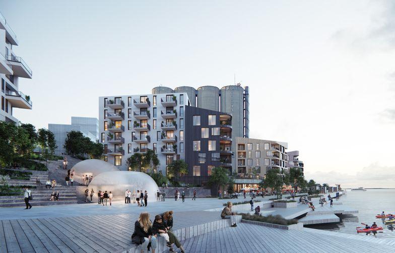 Løsningen på Slemmestad, som baserer seg på renset avløpsvann, er den første i sitt slag i Norge. Foto: TAG Arkitekter