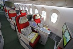 Business class i Ethiopian Airlines sin Boeing 787 Dreamliner. (Foto: Avinor)