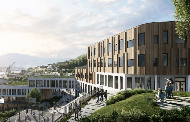 Holen skole i Bergen. Illustrasjon: HUS arkitekter/Arkitektgruppen CUBUS/Brick Visual