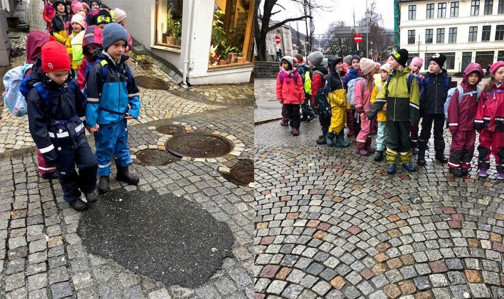 Under en tur til Bergen sentrum spurte en elev hvorfor det er så mye brostein i gatene. Ingen gode svar til et godt spørsmål ble til noe klassen ville forske på. Foto: Rolland skole
