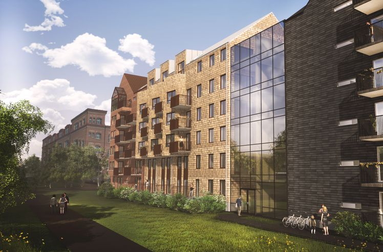 Kvartalet Stadsgården kommer til å ramme inn et hyggelig og delvis innglasset gårdsrom. Illustrasjon: Fredblad arkitekter.