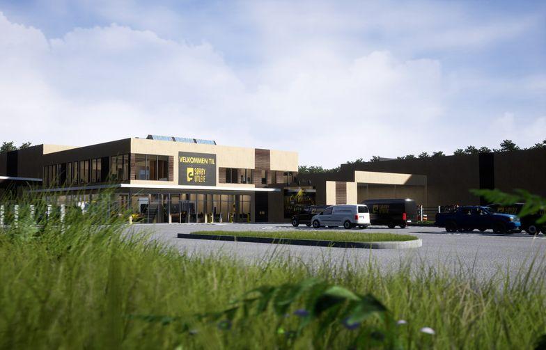 Fasade av bygget som utføres i massivtre. Illustrasjon: Showfabrikken Media AS/Sørby Utleie AS