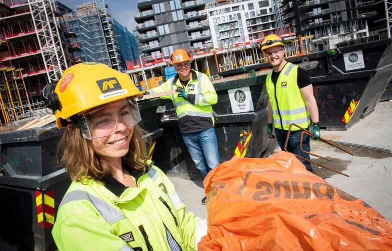 Når alt avfall sorteres i tydelig merkede containere på byggeplassen, betyr det at byggeplassmaterialene kan materialgjenvinnes.
