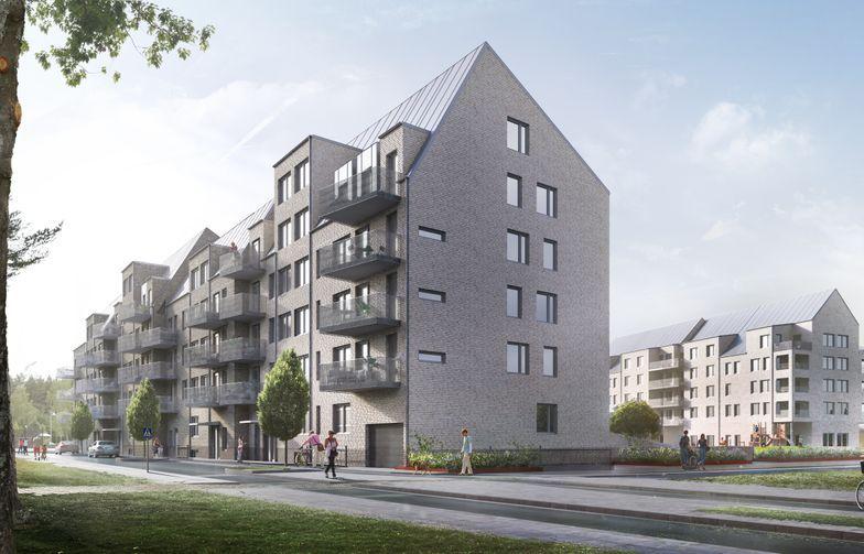HMB bygger 75 leiligheter i Örebro på oppdrag av ÖBO. Illustrasjon: White