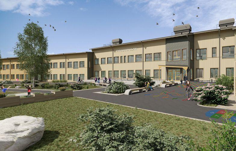 AF Gruppens svenske datterselskap skal bygge nye Paradisskolan med barnehage, grunnskole og idrettshall. Skolen åpner høsten 2021. Illustration: Comarc Arkitekter