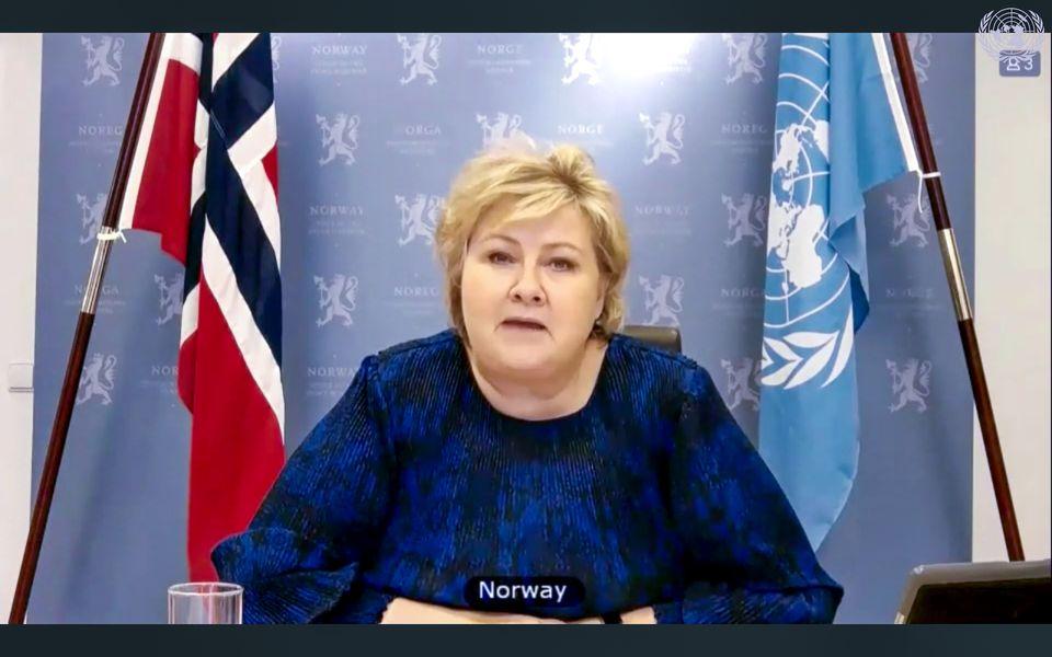 Statsminister Erna Solberg snakker til Sikkerhetsrådet