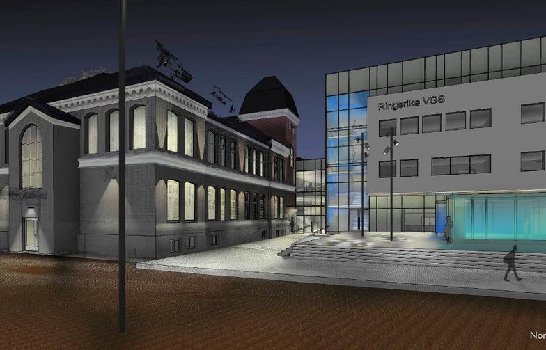 NYSKOLEN: Det nye bygget kommer der dagens gymsal ligger og vil ligge nærmest Kongens gate. De to byggene vil henge sammen med en glassgang. Foto: Illustrasjon: Norconsult
