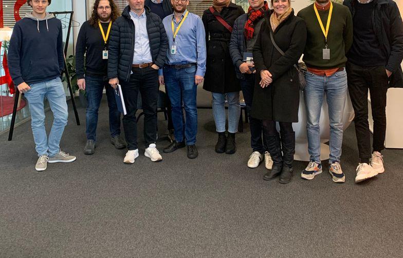 AF Eiendom og Bygr-teamet ved et besøk hos selskapet denne høsten. Foto: AF Gruppen