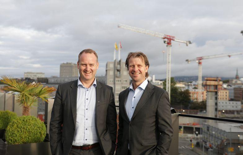 Morten Grongstad, adm. direktør i AF Gruppen (t.v.) og Jørgen Evensen, adm. direktør i Betonmast