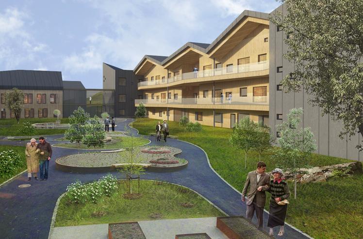 Fossheim Ressurssenter, bilde av sansehage. Illustrasjon: Reiulf Rustad Arkitekter