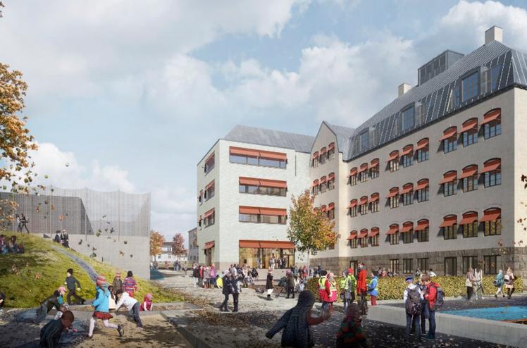 AF Gruppen er innstilt av Halden kommune som totalentreprenør for Os skole og idrettsarena. Ill. Asplan Viak.