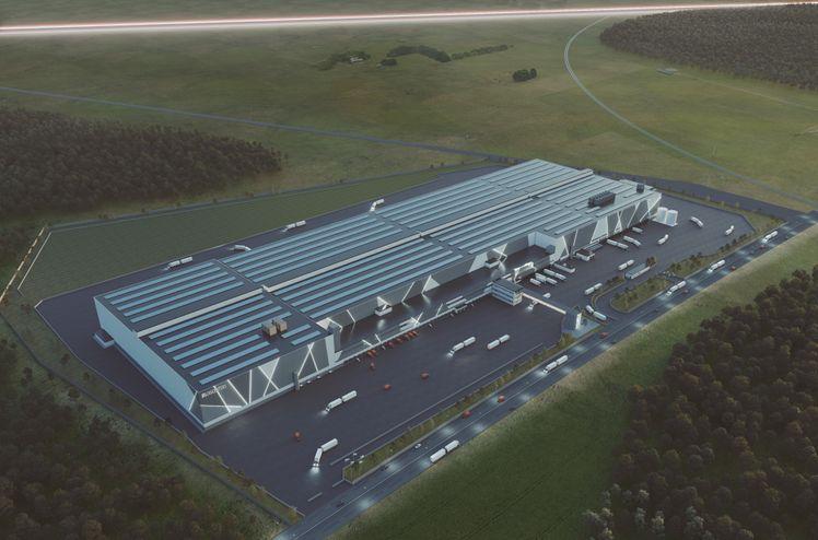 Logistikksenteret DLS Bålsta har et areal på drøyt 100 000 kvm. Bygningen er 575 meter lang og 180 meter dyp. Den er planlagt ferdigstilt våren 2022. Bildet: Krook & Tjäder