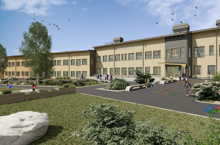 HMB Construction to build school and sports hall in Borlänge. Illustration: Comarc Arkitekter