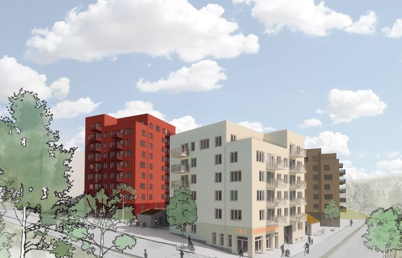 The first residential buildings in Råby in Västerås are being built according to the Sweden Green Building Council's silver standard with solar panels on the roofs for the production of their own electricity. Illustration: Tovatt Architects & Planners / Sweco Architects
