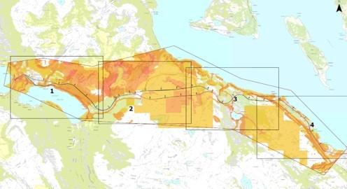 Eksempel på kartangivelse av aktuelt område for undersøkelser av sårbarhet og risiko