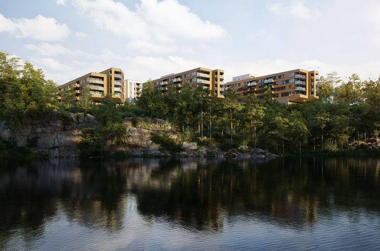 Prosjektet Sandsli 360 er delt i 3 byggetrinn hvor første byggetrinn med 67 leiligheter er i salg med planlagt byggestart i mai. Ill. Selvaag Bolig.