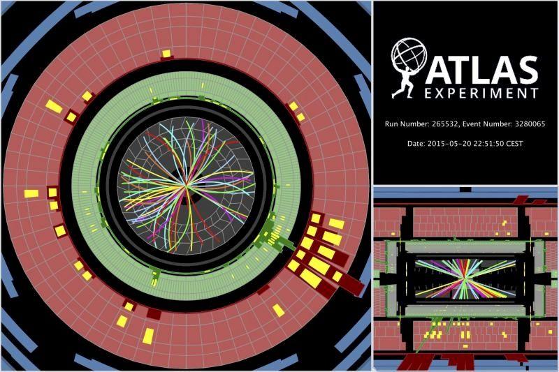 Protoner kolliderer ved 13 TeV og sender partikler gjennom ATLAS-detektoren.