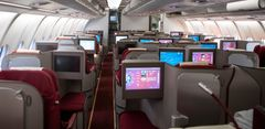 Business class om bord i Hainan Airlines sin Airbus A330-300. (Foto: Avinor)