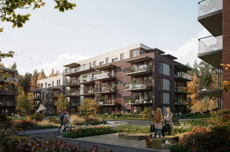 AF Gruppen har inngått avtale med Brekkeveien 19 Utvikling om bygging av boligprosjektet «Brekketunet» i Ås i Viken. Ill. OBOS Nye Hjem/Løvenskiold Eiendom