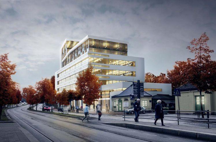 AF Gruppenskal bygge et nytt kontorbygg på Skøyen, Drammensveien 126 for Thune Eureka. Ill. Thune Eureka.