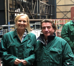 From the left, CEO and owner of Thecla Bodewes Shipyards, Thecla Bodewes and CEO of TECO 2030 ASA, Tore Enger. This picture was taken during a site visit at Barkmeijer Shipyard in October 2020.
