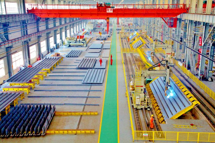 An automated production line at the China Railway Shanhaiguan Bridge Group Co. in Qinhuangdao, Hebei Province, north China​.