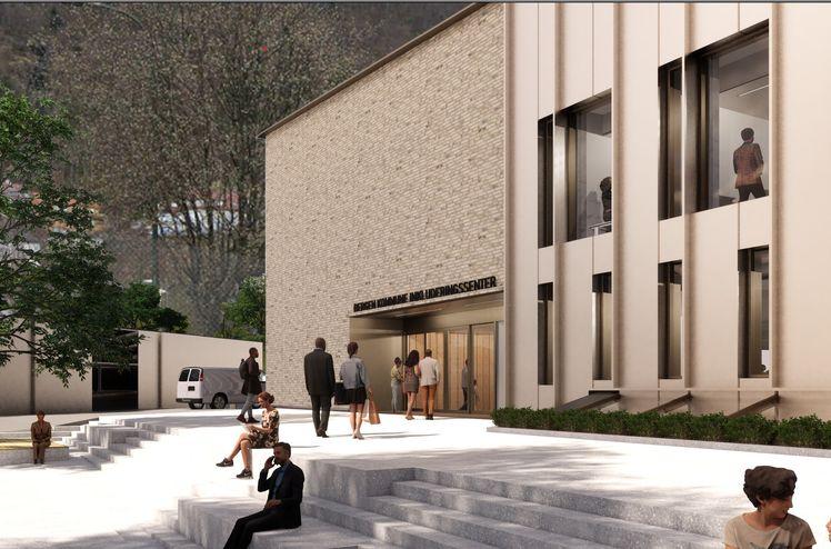 Illustrasjonen viser inngangen til senteret fra parken. Bilde: 3RW arkitekter/HLM Arkitektur